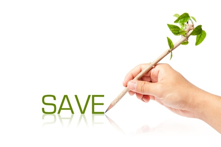 Save wording with creative of pencil with green tree on white backgorund Stock Photo - 13749118