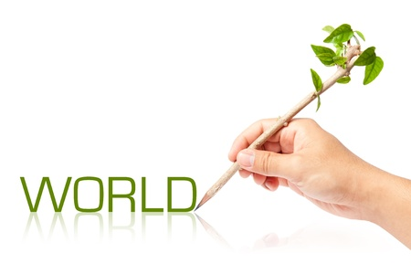 World wording with creative pencil with green tree on white backgorund photo