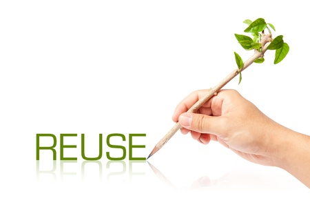 Reuse wording with creative pencil with green tree on white backgorund photo