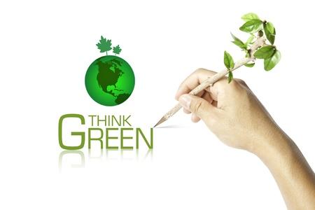 think green: Escrito a mano Piense Concepto Verde Ecologista