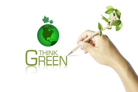 Hand writing Think Green Ecology Concept photo
