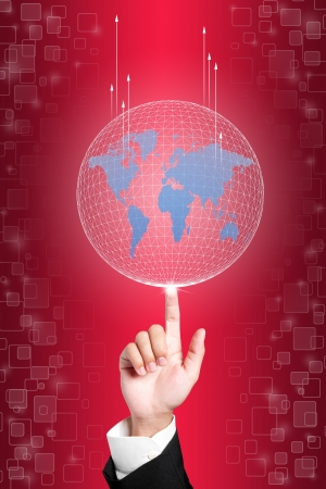 ring tones: Business hand holding globe to the top of goal