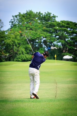 Asian Male golf player on Golf course