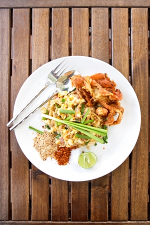 Thailands national dishes, stir-fried noodles (Pad Thai) photo
