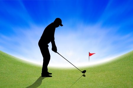 shot put: Silhouette of Golfer on green and blue sky