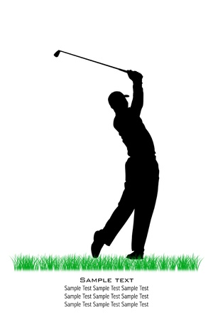 golf swing: Vector Golfer Silhouettes, Isolated, Background