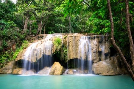 Erawan waterfall on 2nd floors in Kanchanaburi, Thailand Stock Photo