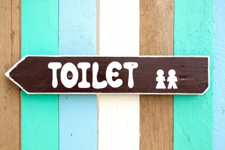 Toilet signs on the old wood wall background
