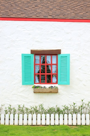 Colored windows on the wall background photo