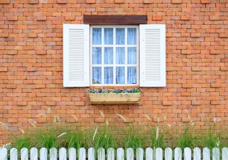 Colored windows on the wall background Stock Photo - 14554399