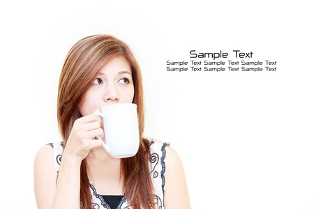 Asian woman holding a cup concept on white background photo