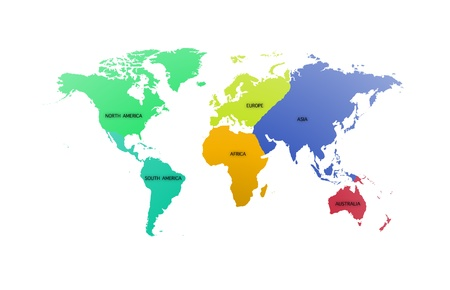 World map with each continent of the world photo