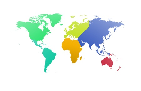 World map with each continent of the world Stock Photo - 15373582
