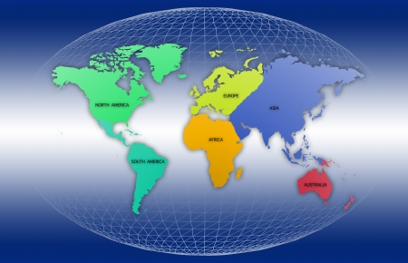 World map with each continent of the world Stock Photo - 15373752