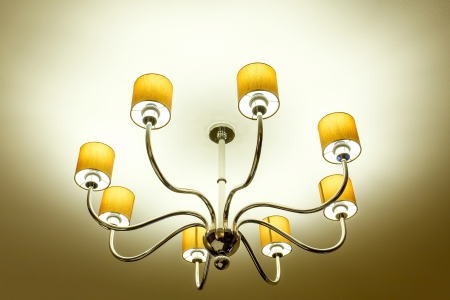 Beautiful of gold ceiling lamp, background photo