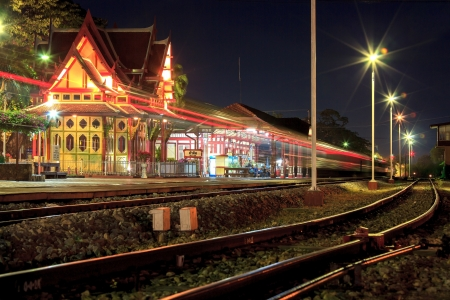 HuaHin railway station at night, Thailand photo
