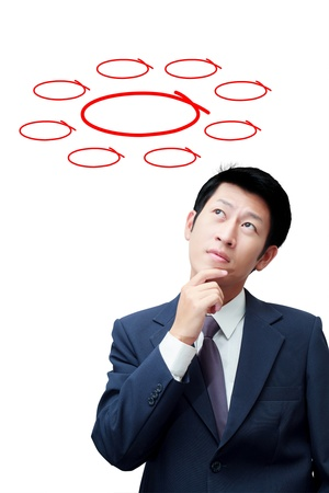 Thinking businessman with red icons on background photo