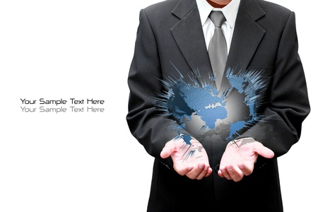 Hands of Businessman holds the Earth photo
