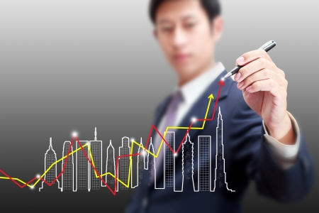 Drawing business building growth chart concept  Stock Photo