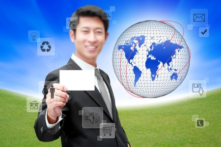 compatibility:  Businessman with Social network and communication in the global computer networks