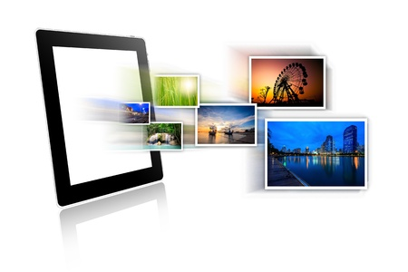 touchpad: Tablet  with travel photos isolated on white background Stock Photo