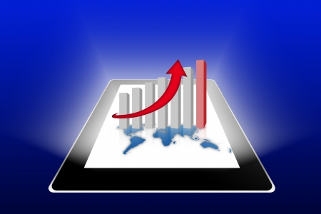 Financial success report statistics on tablet pc photo