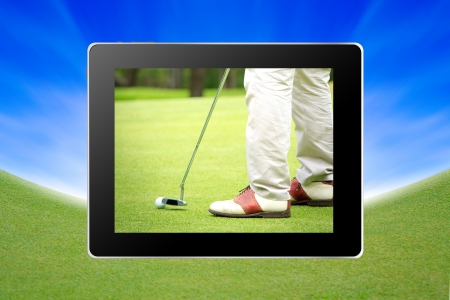 A golf club on a golf course in tablet photo