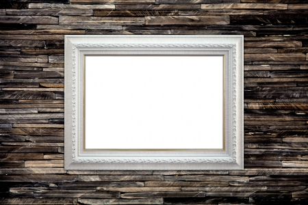 Picture frame on the granite wall, vintage background photo