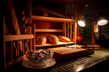 Bread station on the table photo