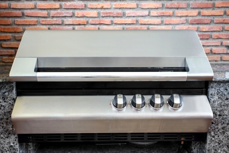 Gas cooker in the kitchen photo