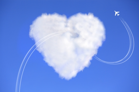 Love is in the air with cloud Stock Photo