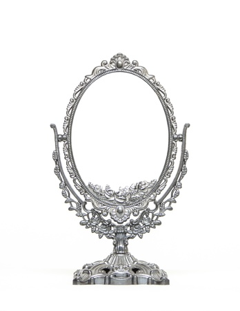 Silver Vintage Mirror isolated on white background photo