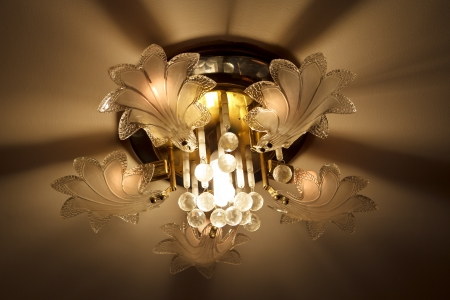 Luxury Glass Chandelier on ceiling  photo