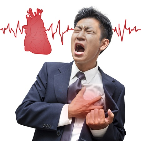 Businessman Heart Attack in Isolated photo