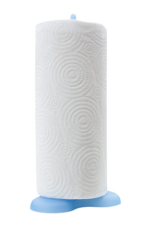 Close-up image of paper towel roll studio isolated on white background Stock Photo
