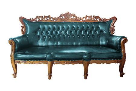 leather armchair: luxury blue leather armchair isolated Stock Photo