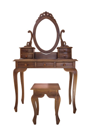 vain: Old wood vanity table and chair for a woman in the house