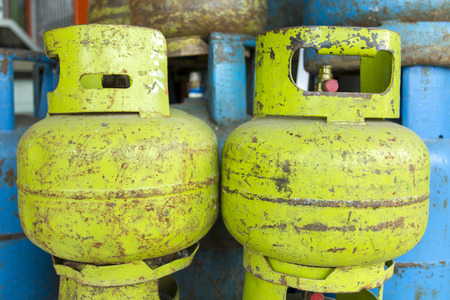 Domestic propane gas bottles ready to be refilled and recycled Stock Photo - 26978774