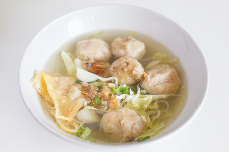 kneidl: Matzah Ball Soup garnished - Indonesia Stock Photo