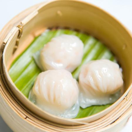dim sum: Chinese dim sum Hagao in bamboo basket, Chinese