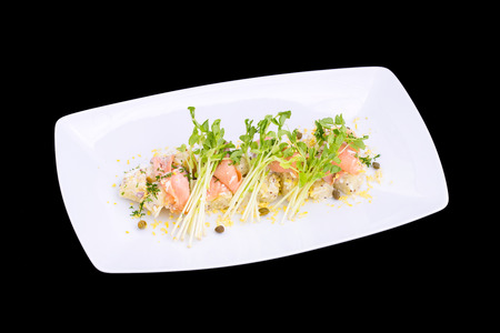 fusion: fusion of Salmon roll on white plate Stock Photo