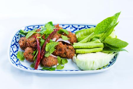 Deep fried spicy minced pork, Thai food Stock Photo