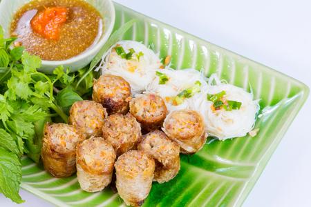 deep fried: Deep fried spring rolls vegetarian food Stock Photo