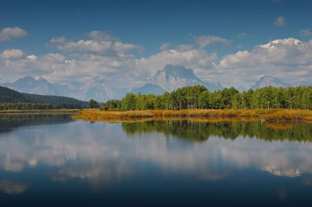 Reflections in the Oxbow bend of the Snake River photo