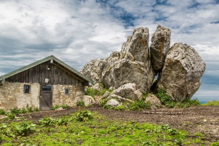 Rocks next to a hut in the Bavarian Alps