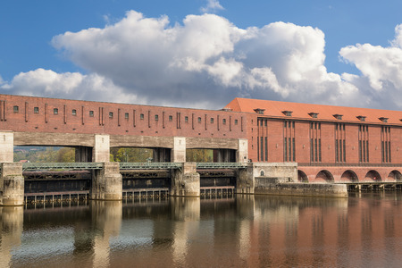 barrage: Danube barrage Kachlet to generate electricity in Passau, Germany Stock Photo