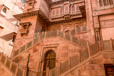 bikaner: Imposing palace of the Maharajah of Bikaner inside Junagarh Fort, Bikaner, Rajasthan, India