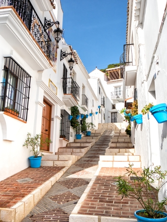 Typical architecture in narrow streets in Mijas,Spain