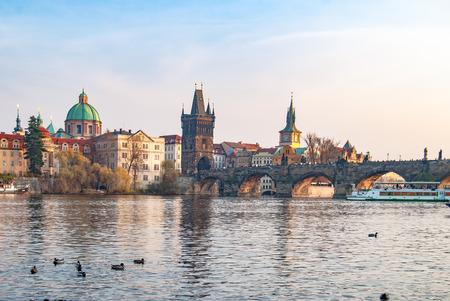 View of the Vltava River and the bridges, Prague, the Czech Republic