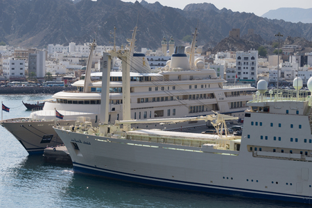 social history: Port of Muscat in Oman, the Sultan of Oman Boat